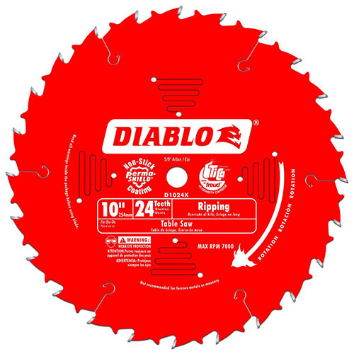 Freud D1024X Diablo 10-Inch 24-Tooth ATB Ripping Saw Blade with 58-Inch Arbor and PermaShield Coating