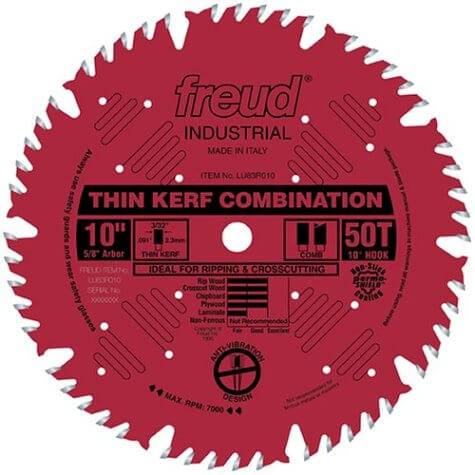 Freud LU83R010 10-Inch 50 Tooth ATB Thin Kerf Combination Saw Blade with 58-Inch Arbor and PermaShield Coating