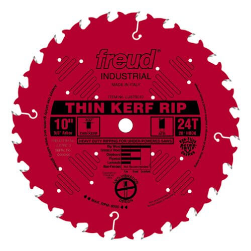 Freud LU87R010 10-Inch 24-Tooth FTG Thin Kerf Ripping Saw Blade with 58-Inch Arbor and PermaShield Coating