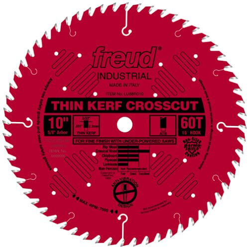 Freud LU88R010 10-Inch 60 Tooth ATB Thin Kerf Crosscutting Saw Blade with 58-Inch Arbor and PermaShield Coating