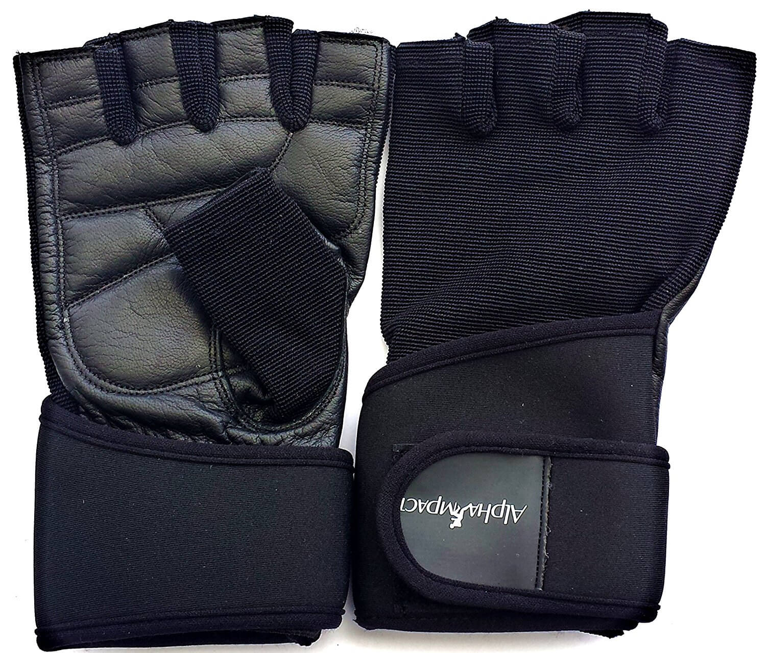 Alpha Impact Weight Lifting Gloves with Premium Leather Palm and Adjustable Wrist Support