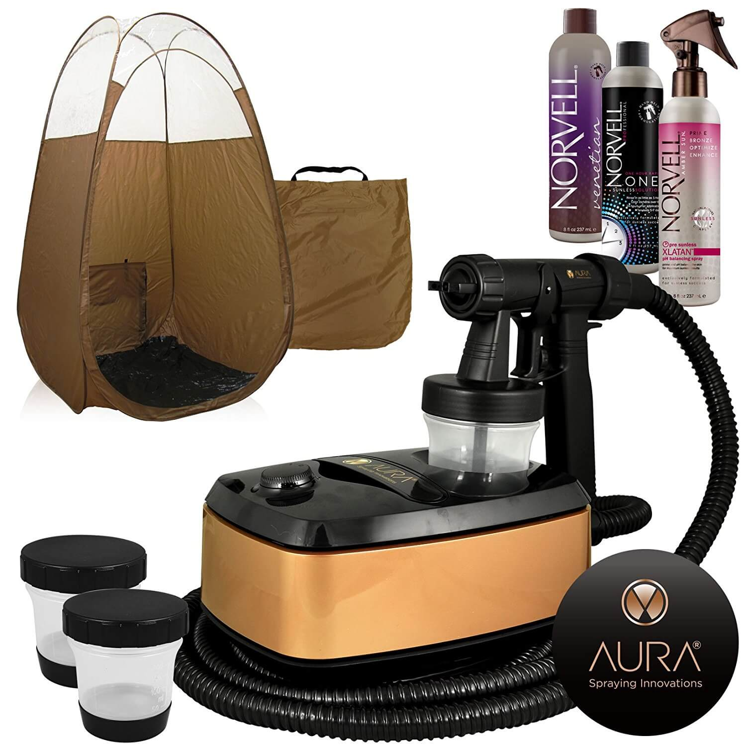 Aura Allure Spray Tan Machine Kit with Norvell Tan Solutions and Bronze Tent
