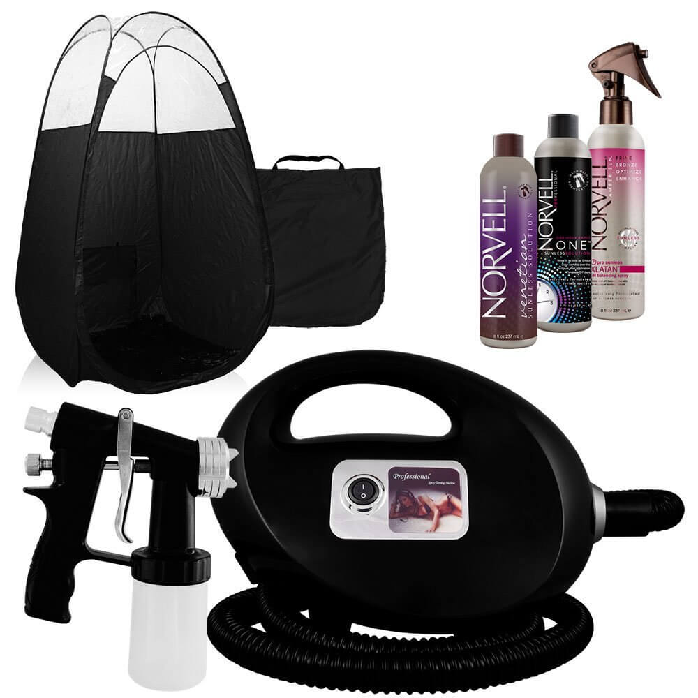 Black Fascination FX Spray Tanning Machine and Kit with Norvell Airbrush Tan Solution Bundle