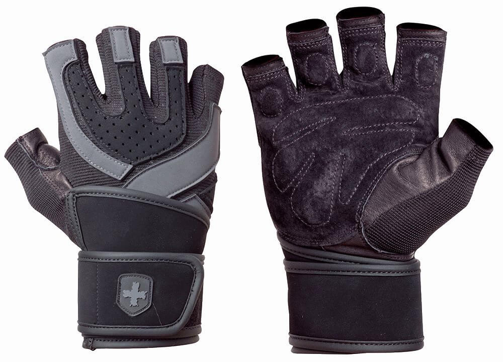 Harbinger Men's Training-Grip Wristwrap Weightlifting Gloves with TechGel-Padded Leather Palm
