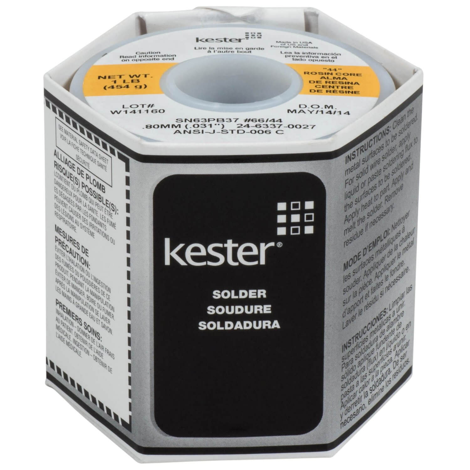 Kester 44 Rosin Core Solder 63/37 0.80mm (0.031 inches) 1 lb. Spool