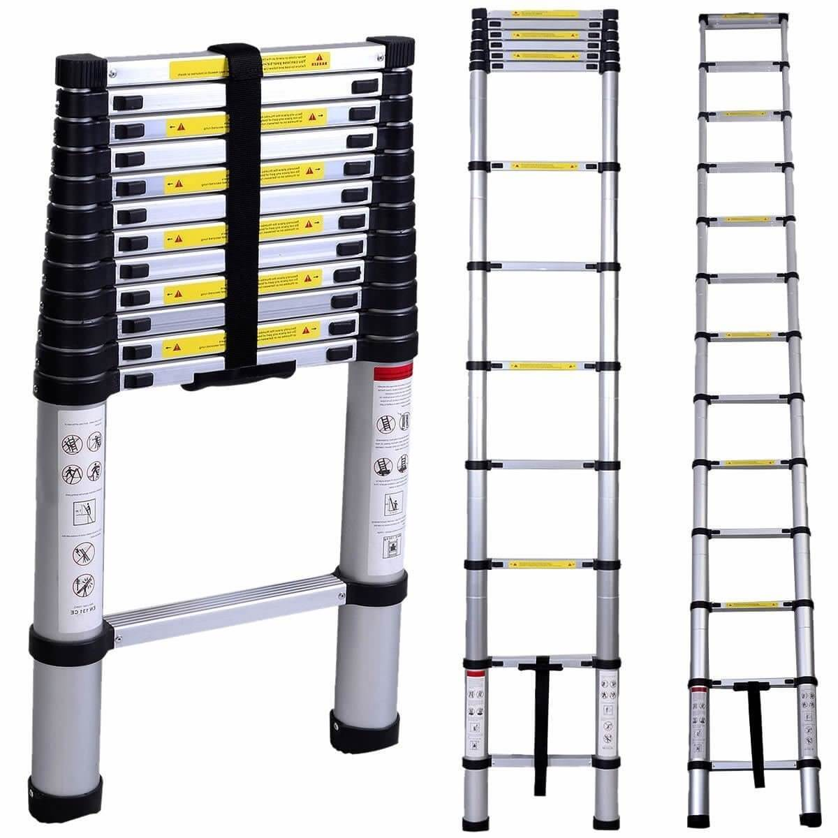 Oshion 12.5ft EN131 Aluminum Telescoping Telescopic Extension Ladder